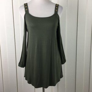 Cable & Gauge Cold Shoulder Tunic Blouse Green S